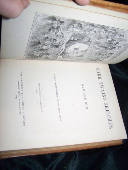 Antique 1875 Mark Twain's Twain Sketches, New and Old Leather Book 1st Edition, 1st Printing.