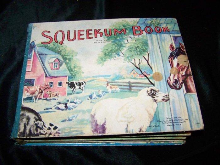 Vintage 1947 FARM ANIMALS SQUEEKUM BOOK McLoughlin~Rare