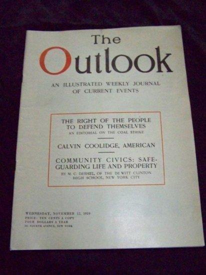 Vintage OUTLOOK Magazine Nov 12 1919 CALVIN COOLIDGE