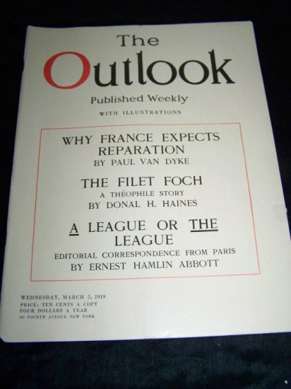 Vintage OUTLOOK Magazine FRANCE REPARATIONS Mar 5 1919
