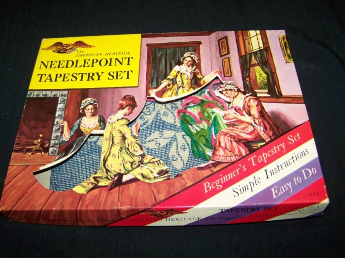 Vintage American Heritage NEEDLEPOINT TAPESTRY Toy Set