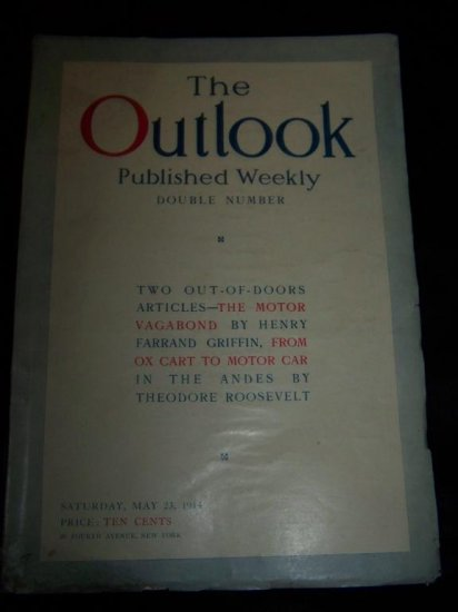 Vintage OUTLOOK Magazine May 23 1914 THEODORE ROOSEVELT