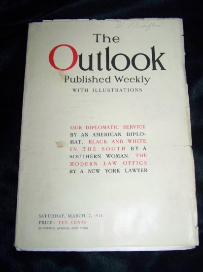 Antique OUTLOOK Magazine March 7 1914 BLACK WHITE SOUTH