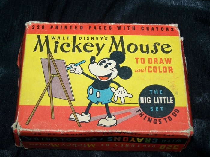 Vintage 1930s Walt Disney MICKEY MOUSE Draw Color BIG LITTLE Book