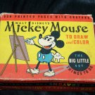 Vintage 1930s Walt Disney MICKEY MOUSE Draw Color BIG LITTLE Book