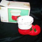 Vintage Christmas SANTA'S BOOT Ceramic BANK Made in Japan with Box