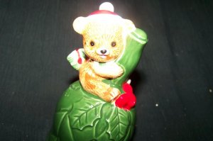 Vintage Lefton Porcelain Teddy Bear CHRISTMAS BELL