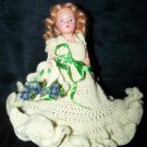 "Vintage 1950s Hard Plastic 8"" Fashion Doll Knit Dress"
