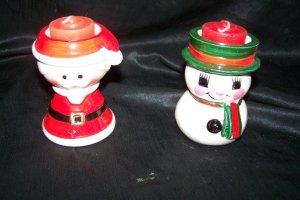 Vintage 1960s SANTA CLAUS & SNOWMAN Pottery Candle Holders made in Japan