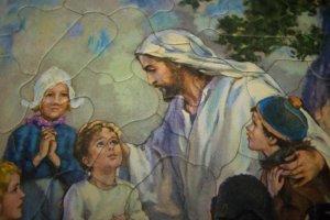 Vintage JESUS CHILDREN Bible Sta-Tru Frame Tray Puzzle