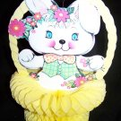 Vintage 1970s EASTER BUNNY Diecut Honeycomb Decoration