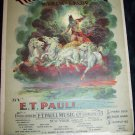 Antique 1902 THE STORM KING Lithograph Sheet Music Neptune Poseidon
