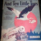 Vintage 1921 Ten Little Fingers and 10 Little Toes Sheet Music Train Stork