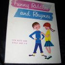 Vintage 1960 FUNNY RIDDLES RHYMES Boys Girls 7-11 Book
