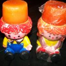 Vintage Raggedy Ann & Andy Plastic Candleholder Candles