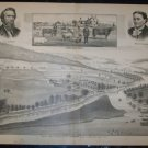 Antique 1870s F.H Hagerman Valley Farm Bradford Co PA Lithograph Print