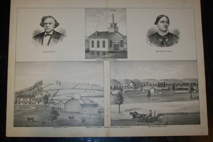 Antique 1870s Charles Chaffe Sheshequin Bradford PA Horne-Brook Church Lithograph Farm Print