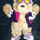 """Vintage 1990 Teddy Grahams Plush Stuffed 10"""" Bear Sunglasses Purple Jacket Advertising Premium"""
