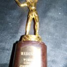 Vintage 1950s Womens Tennis Figure Figural Gold Tone Trophy