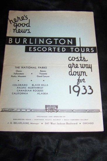 Vintage 1933 Burlington Escorted Tours Railroad Brochure