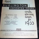 Vintage 1933 Burlington Escorted Tours Railroad Brochure