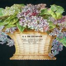 Antique Flower Basket Lithograph Embossed Ad Trade Card