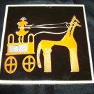 Vintage Greek Handmade Tile Chariot Horse Modern Art Trivet