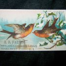 Antique SNOW BIRDS News Depot Circulating Library Victorian Chromolithograph Calling Business Card