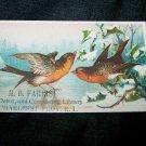 Antique SNOW BIRDS News Depot Circulating Library Victorian Chromolithograph Calling Business Card