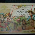 Antique Children & Flower Cart Chromolithograph Victorian Trade Card Tradecard