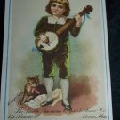 Antique Little Boy Banjo Kitten Cat Chromolithograph Victorian Piano Trade Card Tradecard