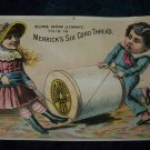 Antique Merrick Thread Children Chromolithograph Victorian Trade Card Tradecard