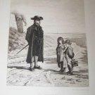 Antique THE REPRIMAND Carl Schloesser, Leopold Lowenstam Etching Art Print