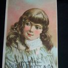 Antique Child Little Girl Glenmore Base Burner Stove Chromolithograph Victorian Trade Card Tradecard