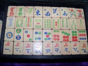 Antique/Vintage 1920s Wood Wooden Celluloid Mah Jong JONGG Game