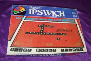 Vintage 1983 Scrabble IPSWICH Cross Word Board Game Black Wooden Tiles Selchow & Righter