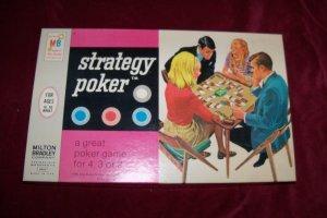 Vintage 1968 STRATEGY POKER Card Game w/Vinyl Mat Milton Bradley COMPLETE