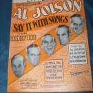 Vintage 1929 AL JOLSON In Say It With Songs Davey Lee Sheet Music
