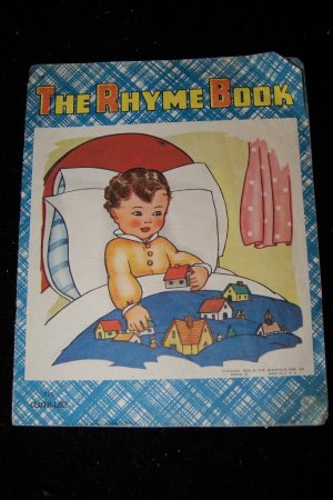 Vintage THE RHYME BOOK Saalfield Illustrated Linenette PB