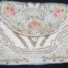 Vintage French Beaded Handmade Hand Bead Clutch Purse Pearls White Pink Embroidered