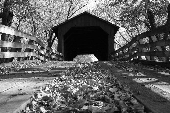 Sugar Creek Covered Bridge B/W 8x10 Framed