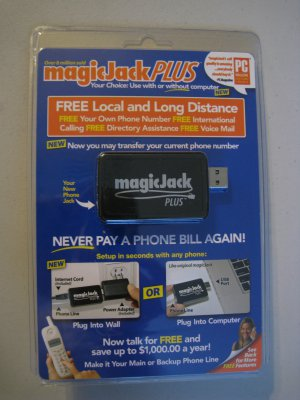 magicJack is a device that plugs into a USB port on the user's computer (or in the case of magicJack Plus, plugs directly into a router) and has a standard RJ .