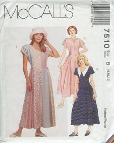 McCalls Sewing Pattern 7510 Women's Dress Size B (8,10, 12)