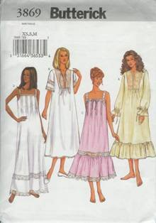 Butterick Sewing Pattern 3869 Women's Nightgown XS, S, M