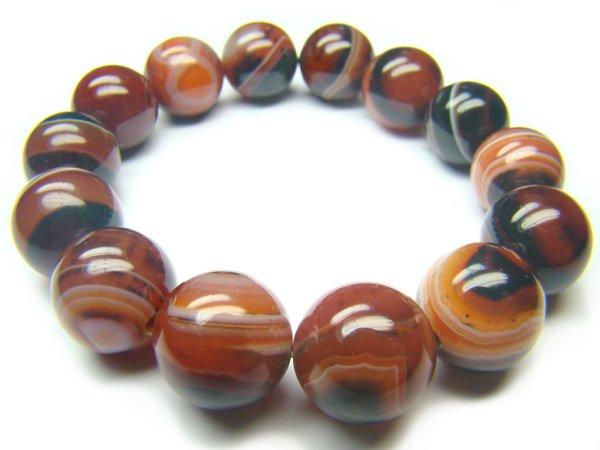BAGROS1318X Dark Red Agate Round Shape 14mm Bracelet
