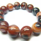 BAGROS1318X Dark Red Agate Round Shape 14mm Bracelet