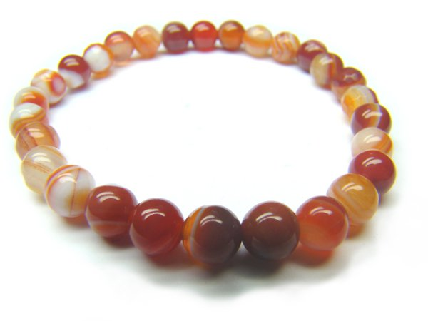 BAGERS0800X Red Agate wt Lace Round Shape 6mm Bracelet