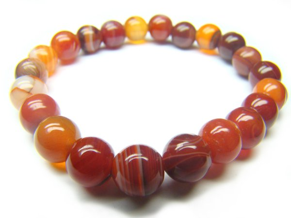 BAGERS1000X Red Agate wt Lace Round Shape 8mm Bracelet
