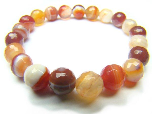 BAGBRS0600X Red Agate wt Lace Round Shape 8mm Cut Bracelet