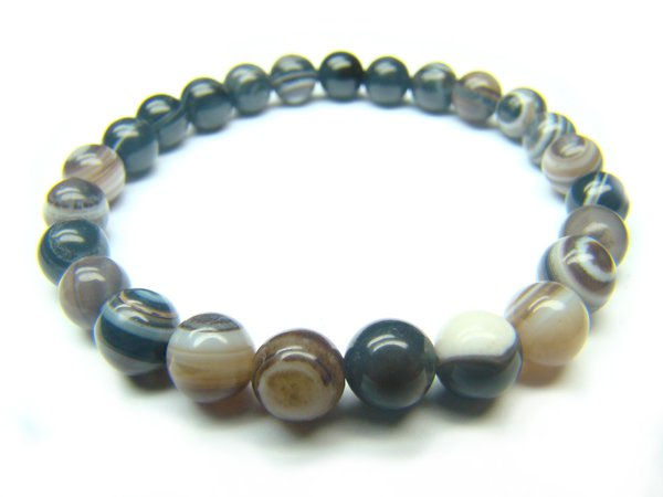BAGBRS0800X Black & White Agate Round Shape 6mm Bracelet